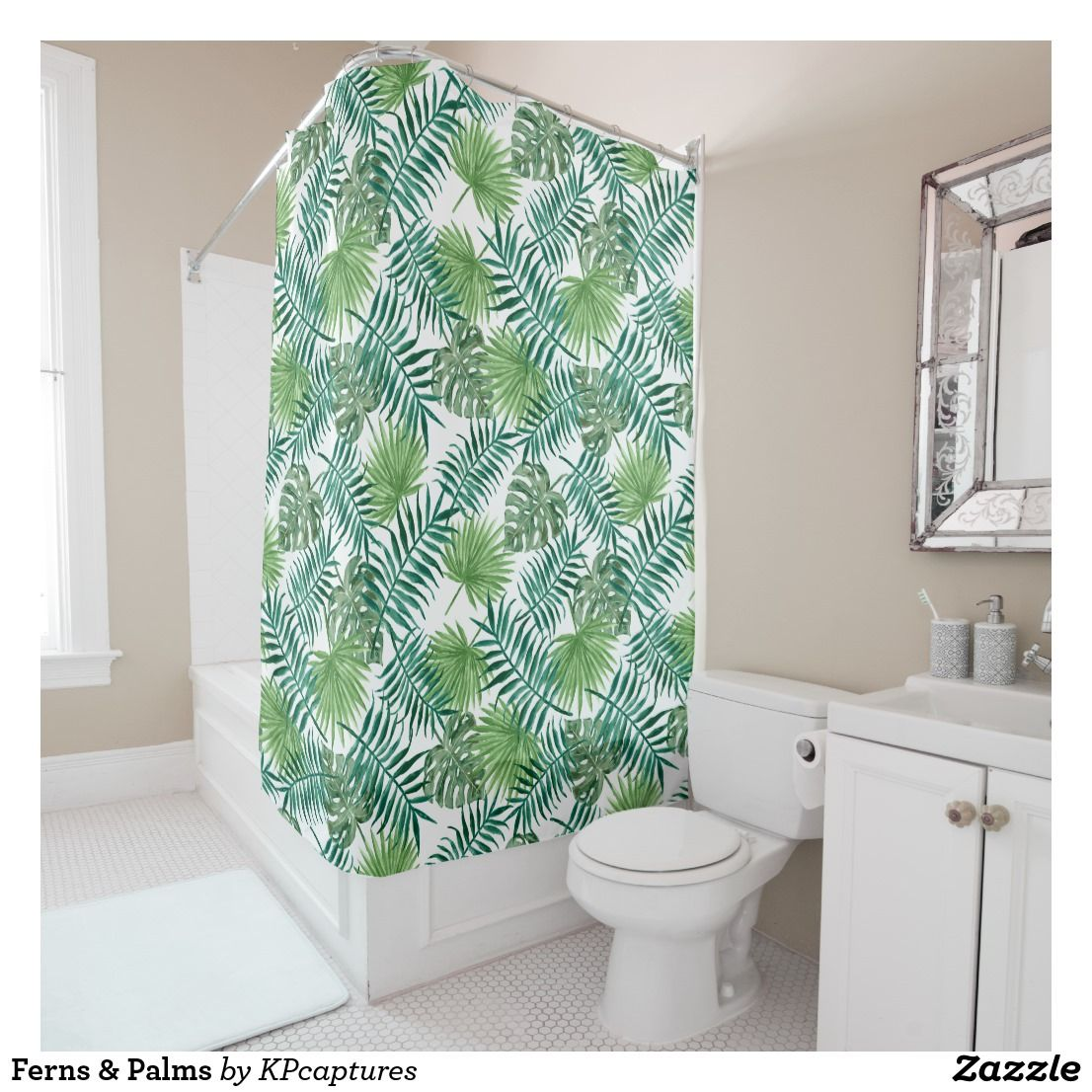 Ferns Palms Shower Curtain Zazzle Com Watercolor Shower Curtain Vintage Shower Curtains Rustic Shower Curtains