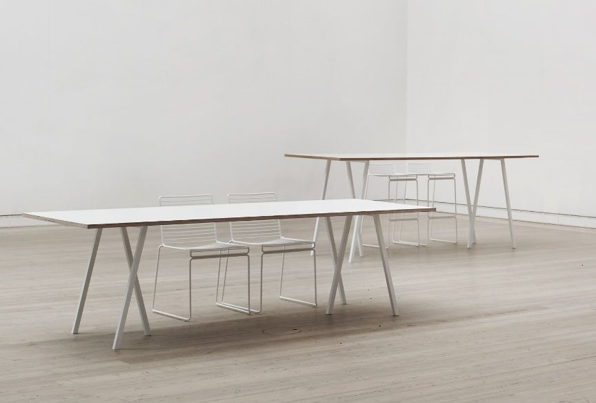 Hay Tischböcke hay table loop stand table white frame white laminate l 160 cm