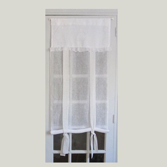 Tie Up Curtain White Linen French By Hatchedinfrance 36 00