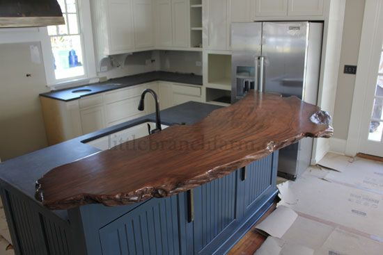 Wood countertop handcrafted using a burl wood slab cut for Wood slabs for countertops