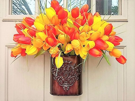 Spring Wreath  Easter Wreath  Tulip Wreath  by AWorkofHeartSA