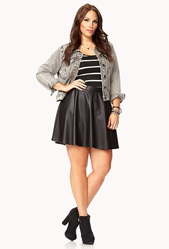 5b99cf2357 My friend has this...maybe? Dynamite Faux Leather Skater Skirt ...
