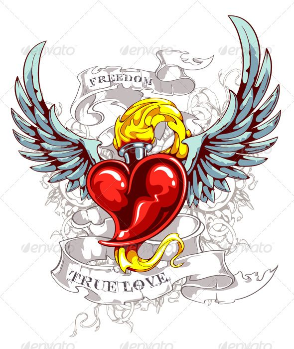 Vintage Heart Wings Tattoo Design | ink | Pinterest ...