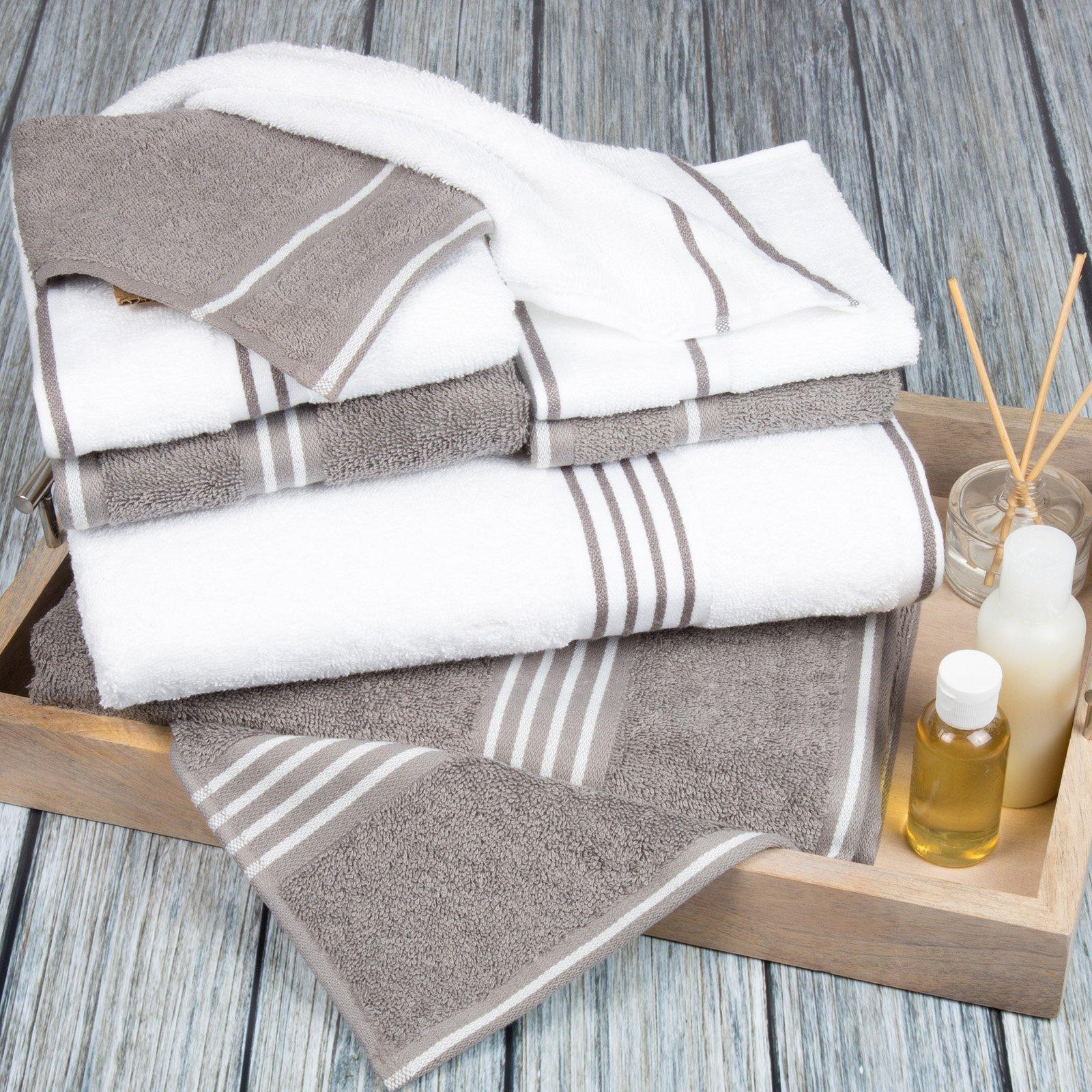 Lavish Home Rio 8 Piece Egyptian Cotton Towel Set White Silver Towel Set Egyptian Cotton Towels Cotton Bath Towels