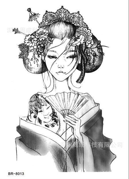 Tatouage Geisha Noir Et Blanc