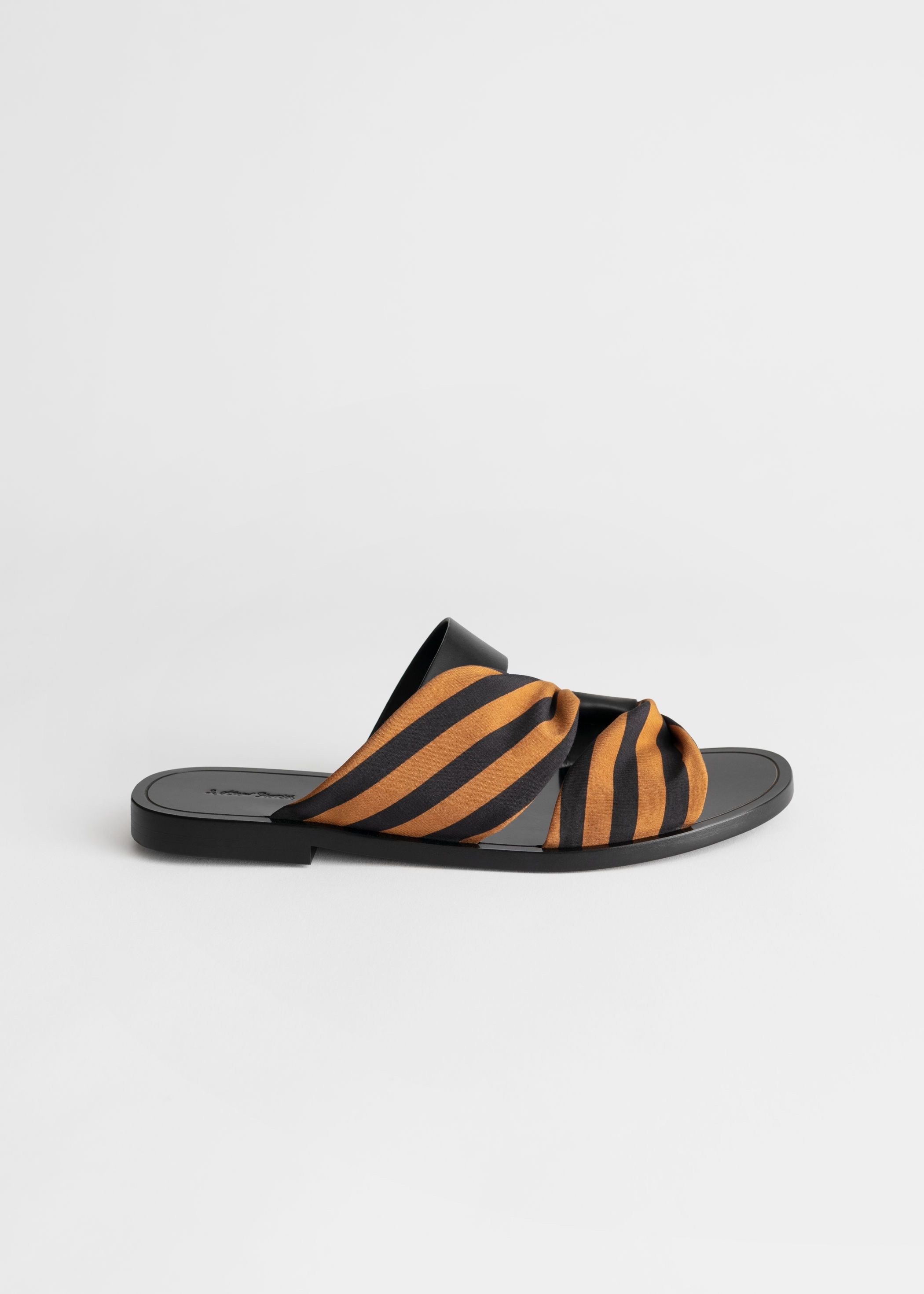 Draped Stripe Cross Leather Sandals | Leather sandals