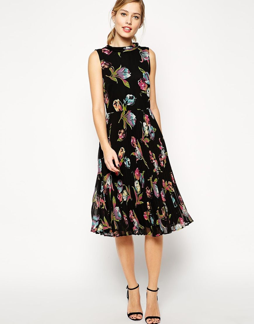 ASOS Midi Dress with Pleated Skirt and Funnel Neck in Tulip Print ...