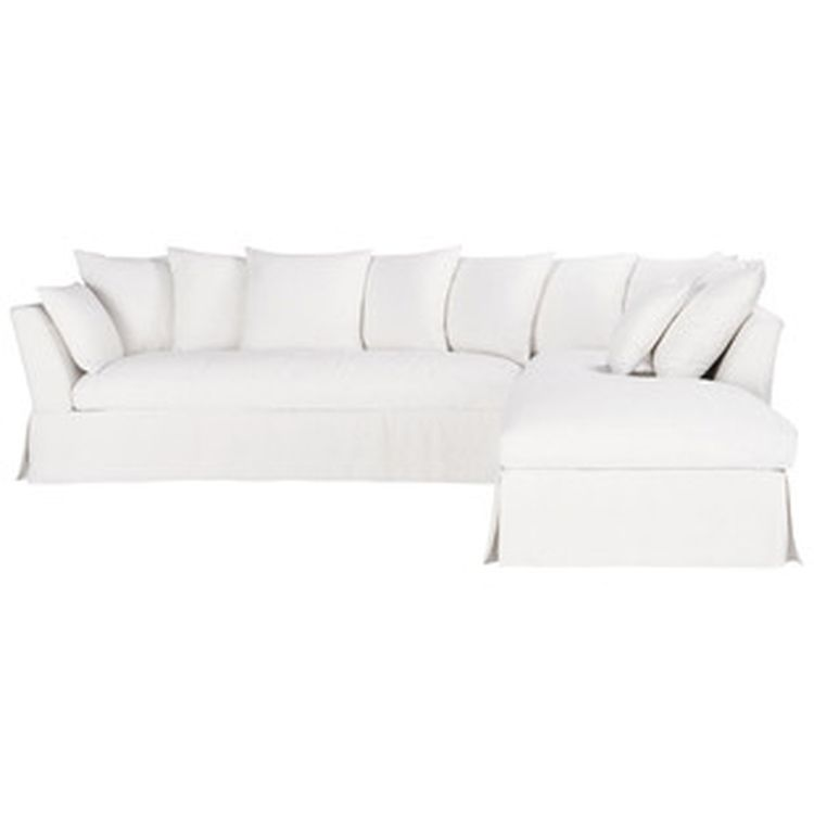 Sof de esquina fijo 5 plazas lino blanco 1 sofas - Sofas en esquina ...