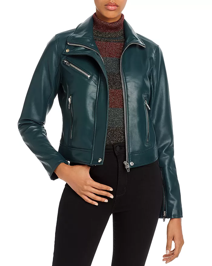 Blanknyc Faux Leather Jacket Dark Green Faux leather