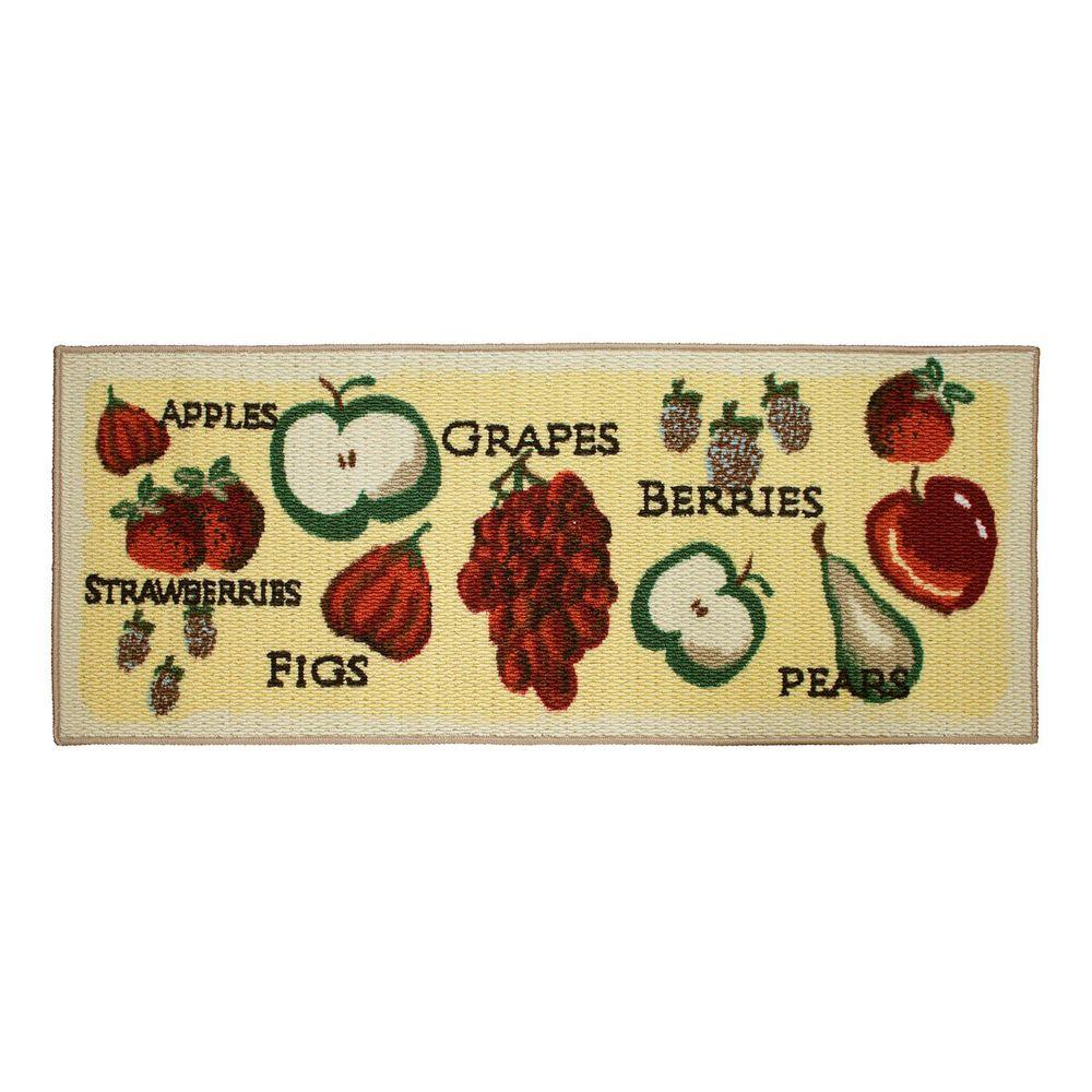 Tossed Fruits 20 in. x 48 in. Textured Accent Kitchen Runner, Multi