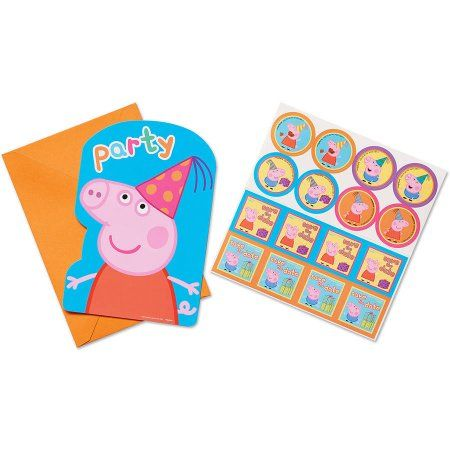 Peppa Pig Birthday Party Invitations 8ct Multicolor Pokemon Supplies