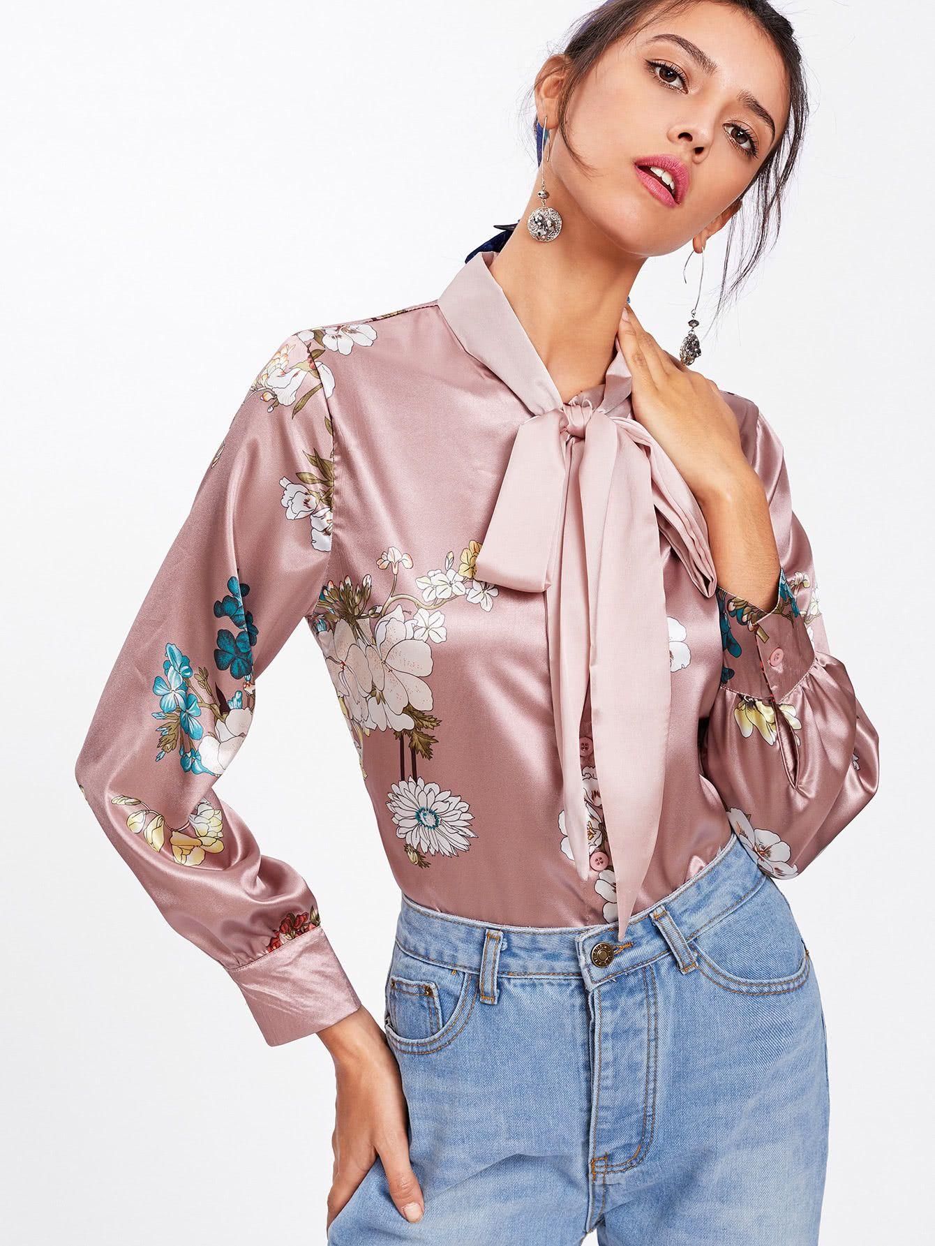 Goede Shop Flower Print Self Tie Bow Satin Shirt online. SheIn offers FW-33