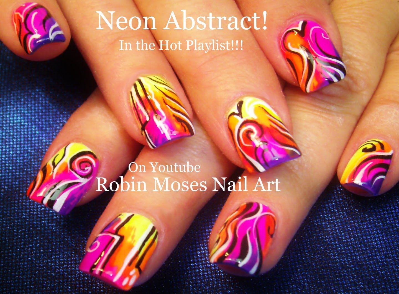 Nail Art Tutorial Neon Abstract Nails Hot Trendy Nail Design
