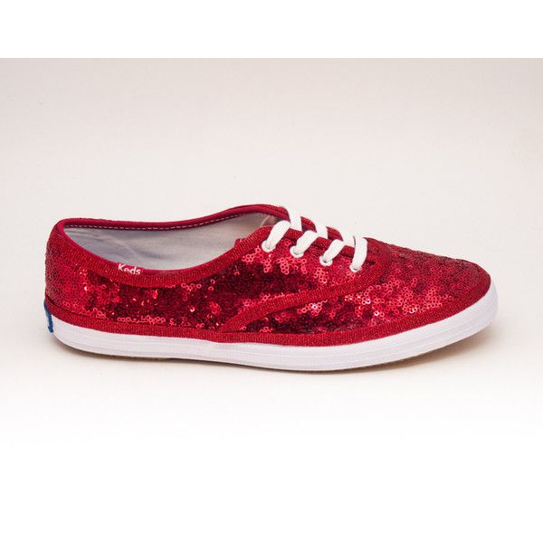 c253c7e58a0c Sequin Starlight Red Keds Sneaker Canvas Tennis Shoes (1.538.210 IDR) ❤  liked on Polyvore featuring shoes, grey, sneakers & athletic shoes, tie  sneakers, ...