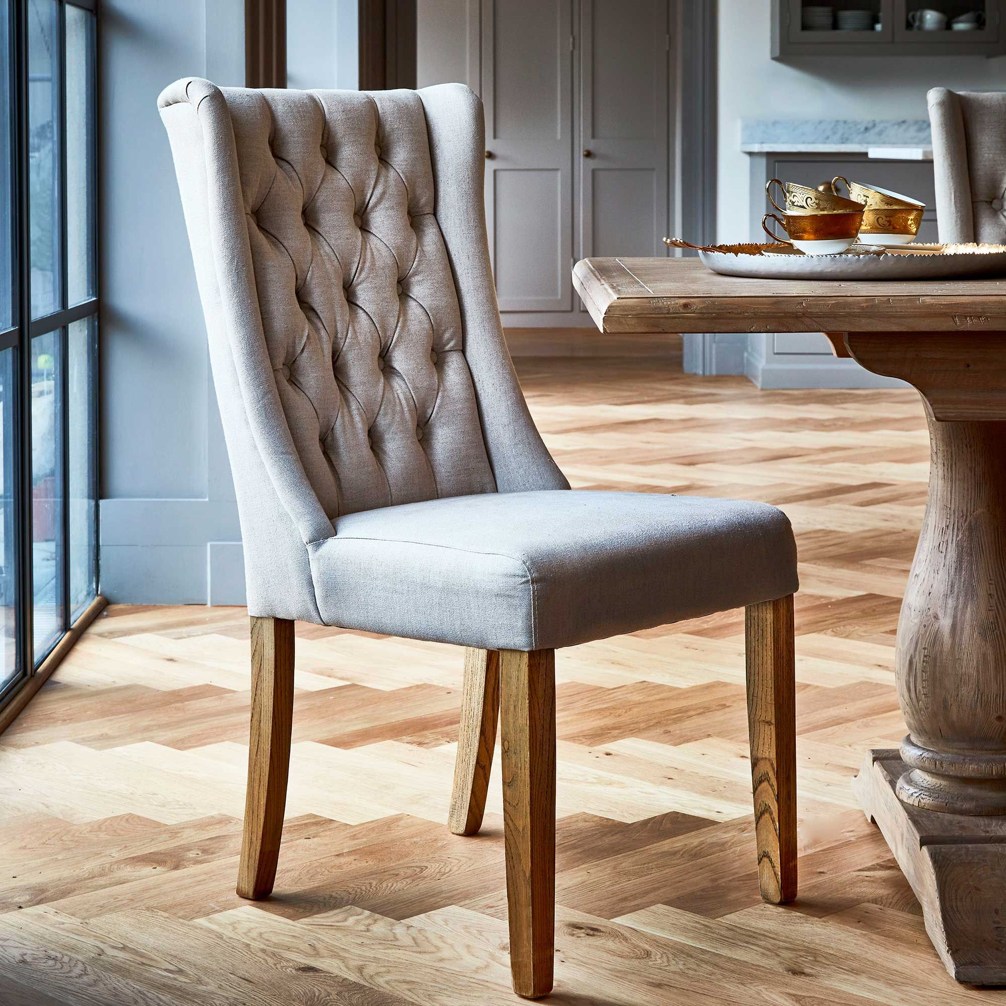 Kipling Fabric Dining Chair, Cream & Oak - Barker & Stonehouse images