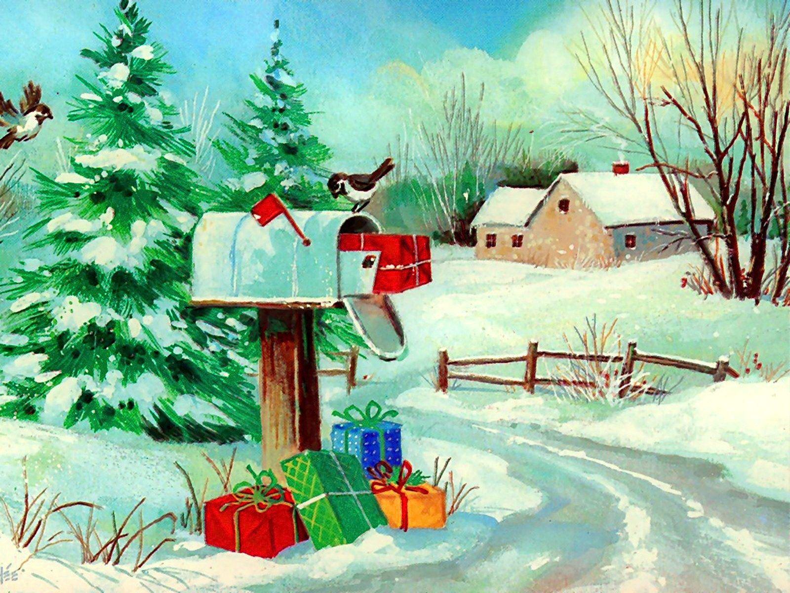 Christmas Mail (1600 x 900) winter birds landscape mailbox ...