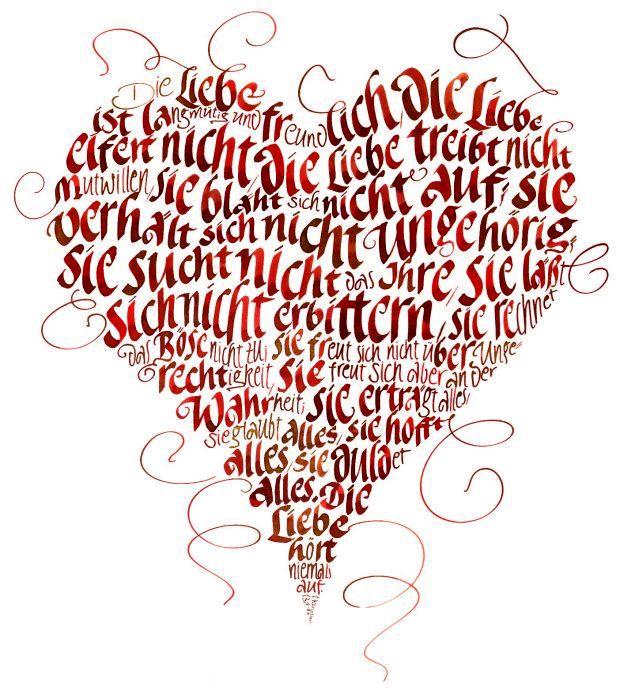 Heart calligraphy description of love from corinthians