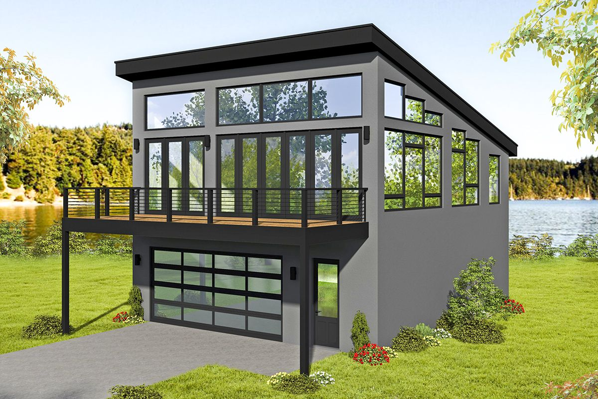 Plan 68627VR: Expanded Modern Carriage House Plan with Sun ...