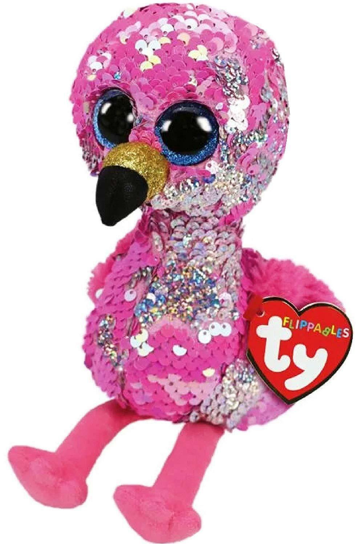 "Pink Flamingo 6/"" Ty Beanie Boos Puppy Glitter Big Eyes Plush Stuffed Animals Toy"