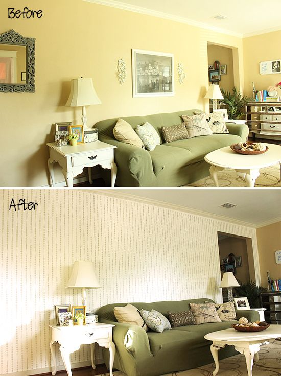 Living Room Makeover: Adding An Accent Wall | Wall stencil patterns ...