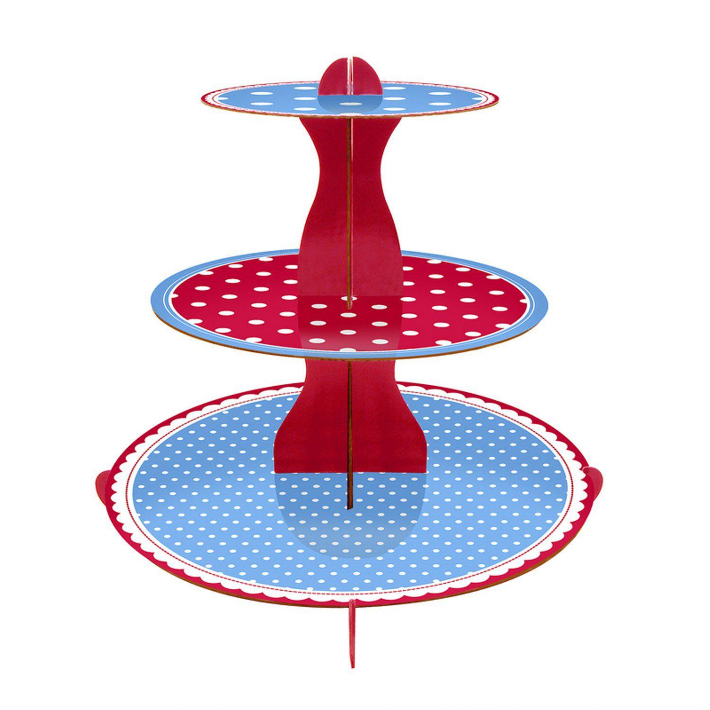 Expositor de tres pisos azul y rojo con lunares Polka de Mason Cash | ACHICA