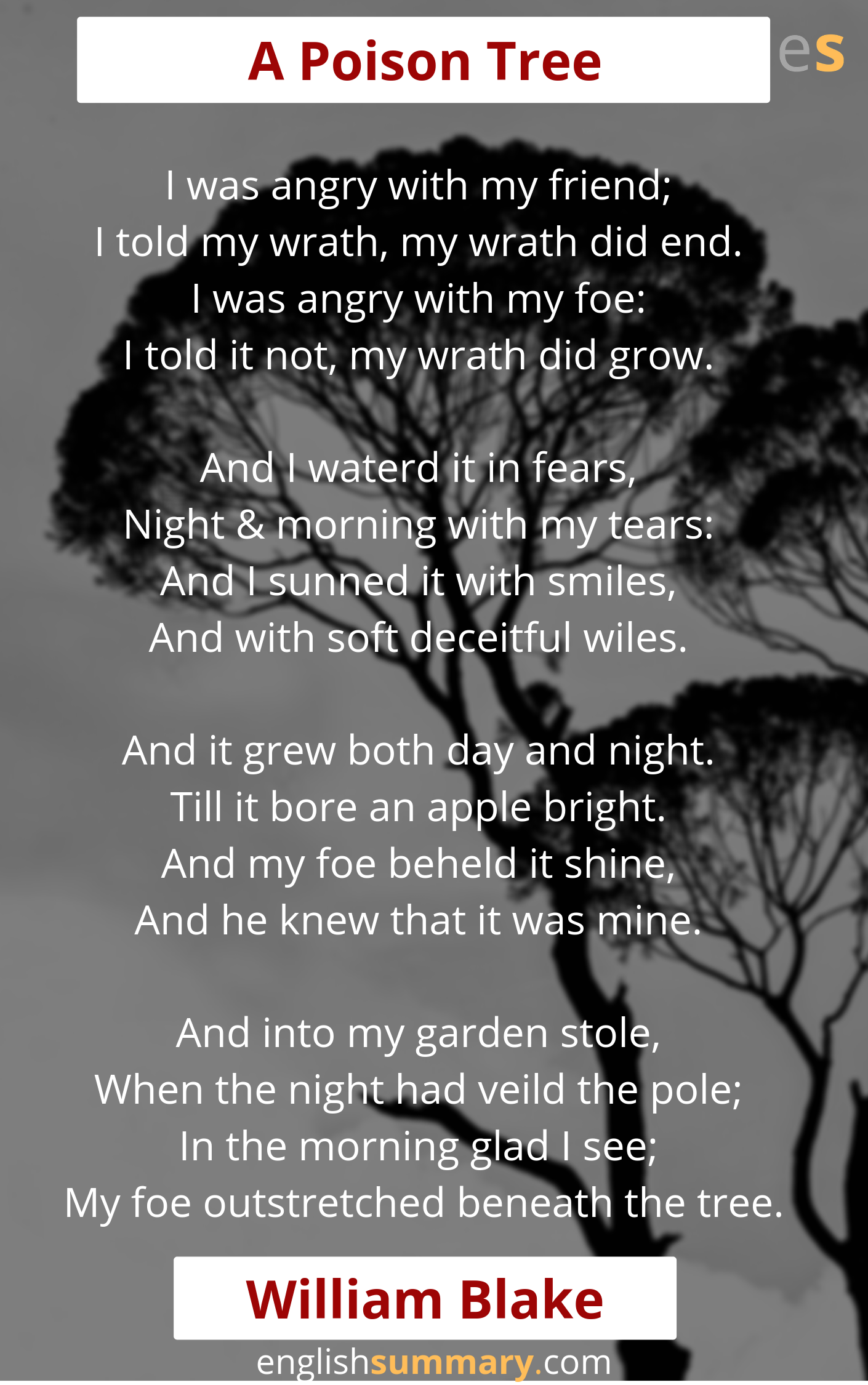 A Poison Tree Poem By William Blake Beautiful Poems Bright Star Paraphrase