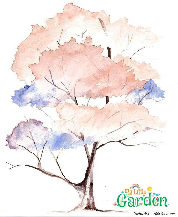 The Love Tree Watercolor 5 3 10 Baum Kleines Aquarell Tree