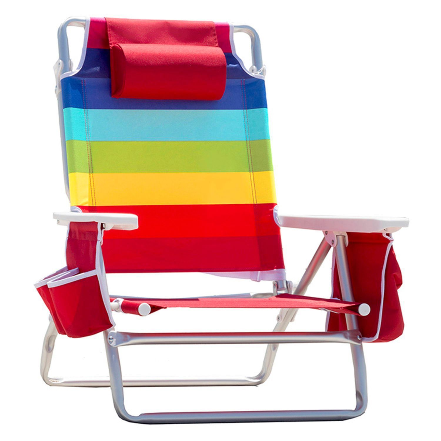 Nautica Beach Chair w Side Cooler Pouch & Cup Holders Rainbow