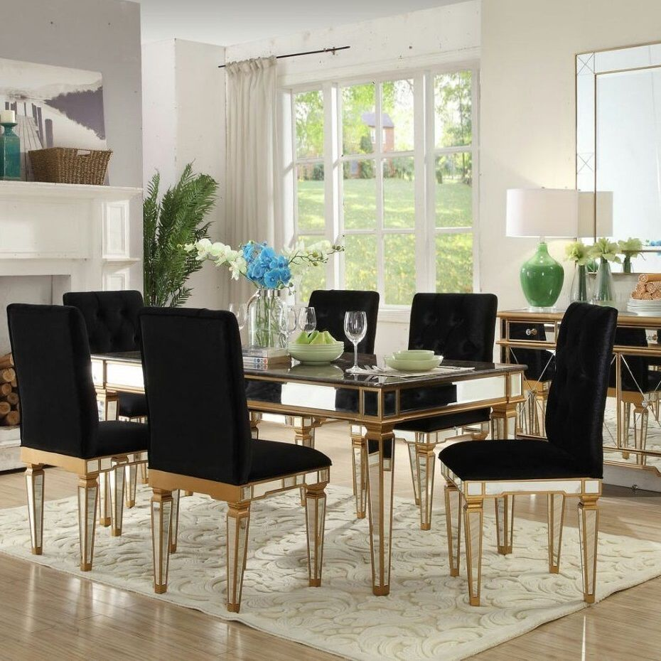 Mirrored Dining Set Table Chairs Mirror Wood 7pc Glass Black