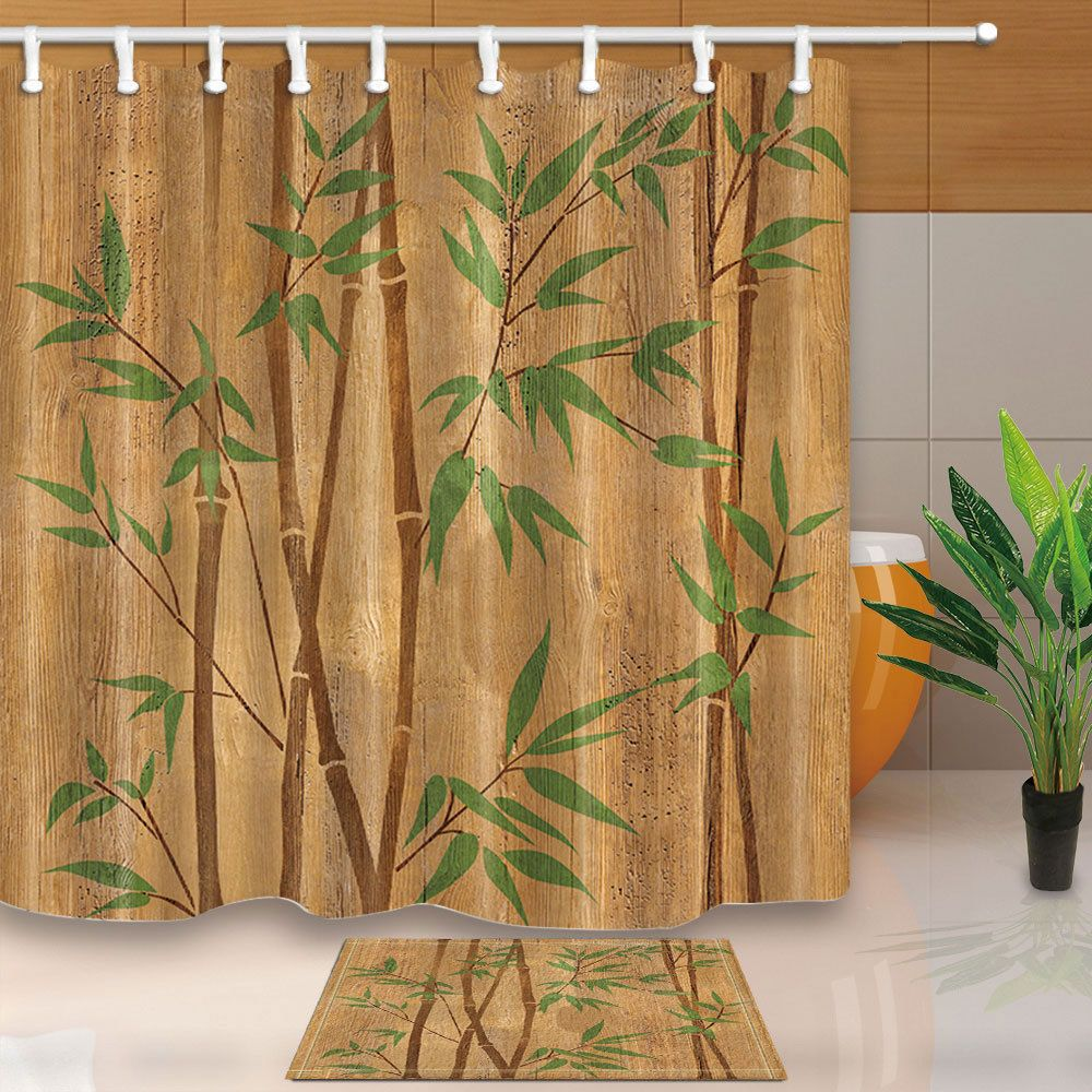 Decorative Bamboo Branches Shower Curtain Bathroom Fabric