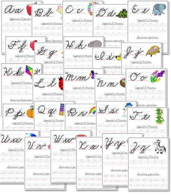 Free A Z Cursive Handwriting Worksheets Necsstep Pinterest