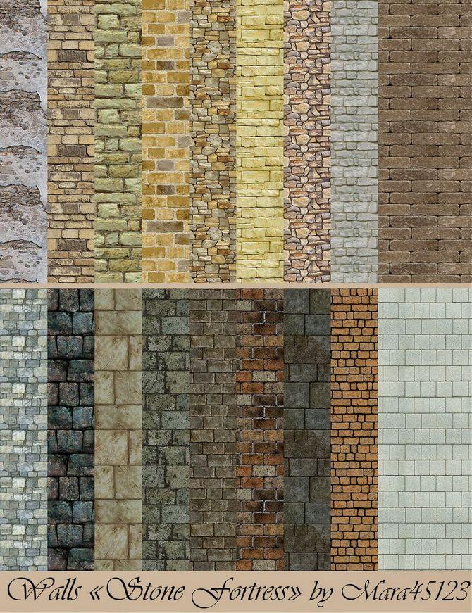 Stone Fortress walls and floors at Mara45123 via Sims 4 ... Sims 1 Walls