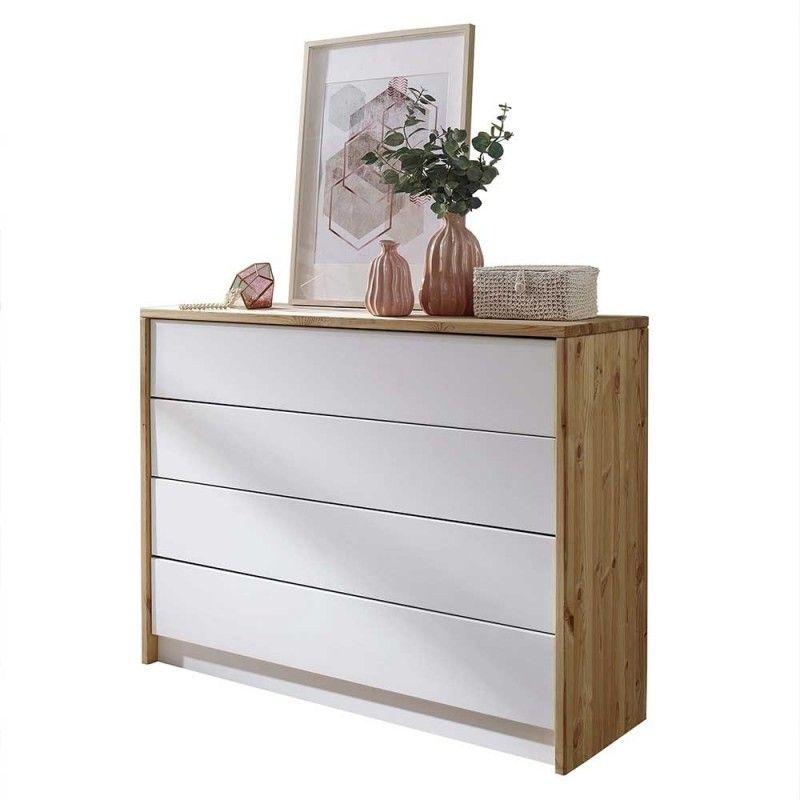 122x94x42 Schlafzimmer Kommode aus Holz Kiefer in Weiß