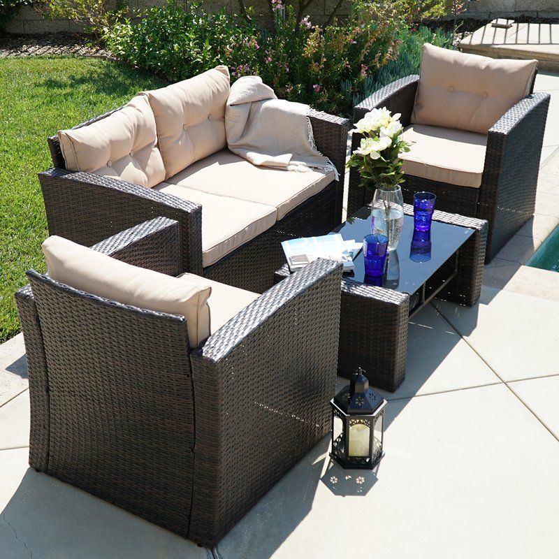 Guion 4 Piece Rattan Sofa Seating Group With Cushions Outdoor