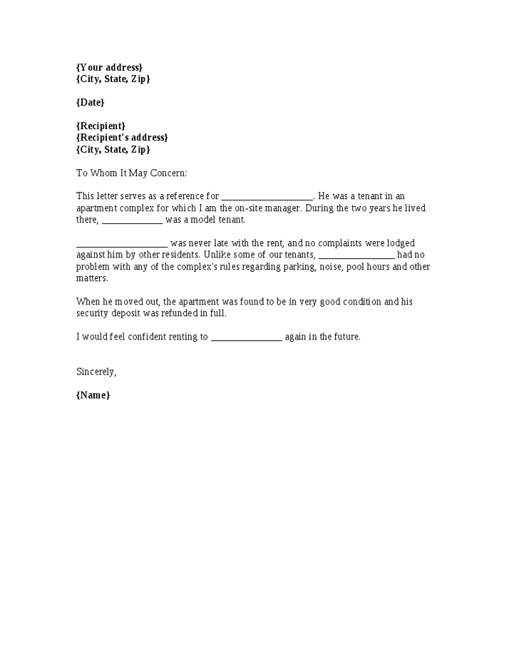 A template for a renter reference letter from a previous apartment