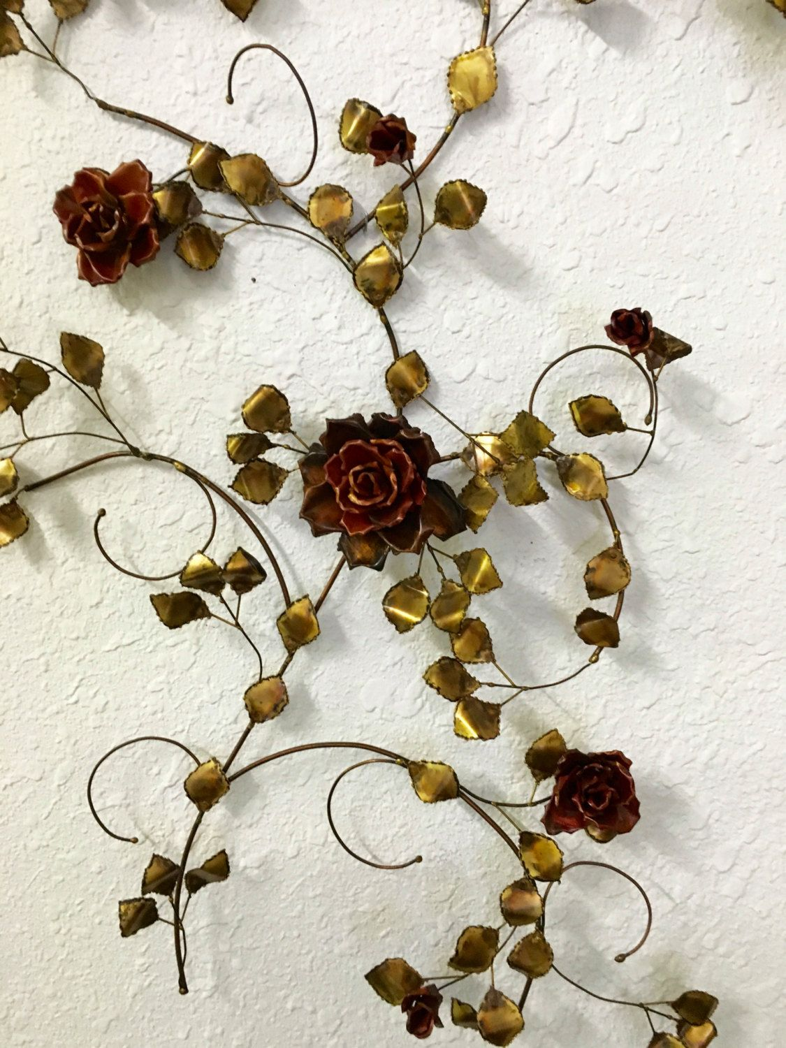 Metal Rose Wall Art Large Metal Red Rose Bush Wall Sculpture Vintage Wall Art Decor.