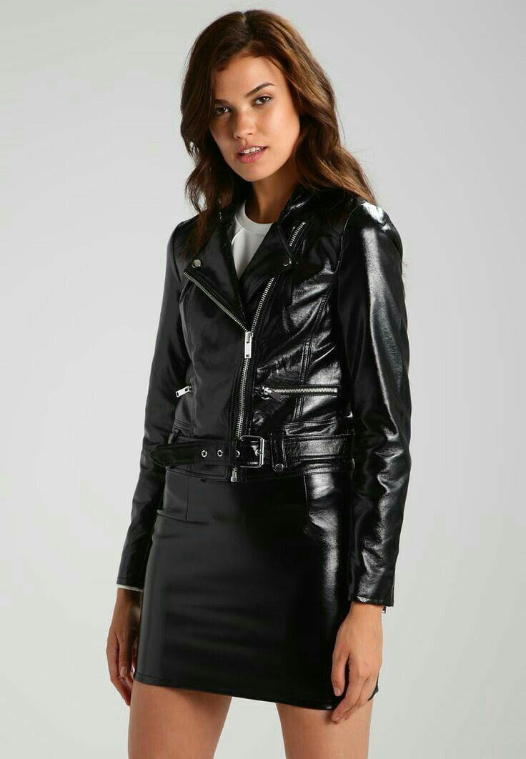 e2e2f58ea007a79a954e976e470fd73e.jpg (736×1062) | Leather jacket girl,  Leather dresses, Black faux leather jacket