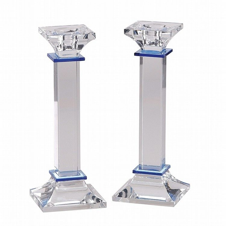 Pair of crystal glass candlesticks with blue details