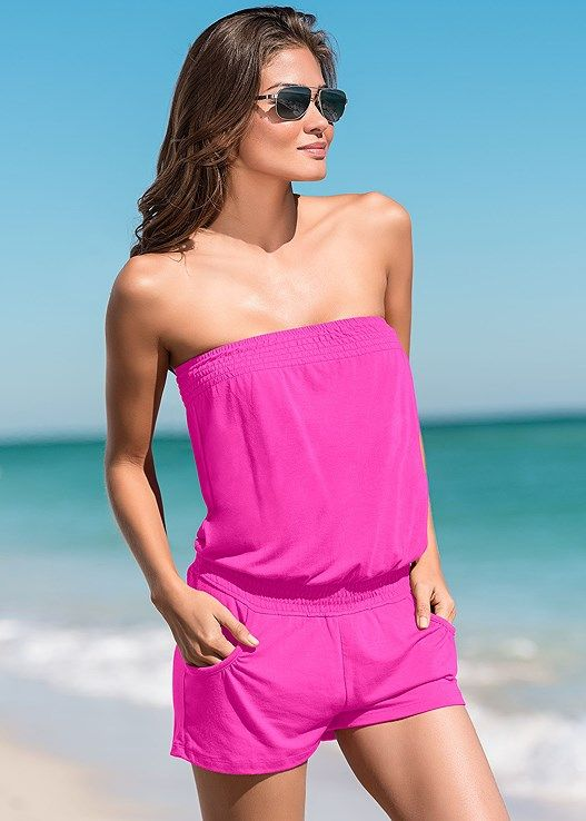 ff5ff3206306 Venus Women s Love Me Forever Romper Cover-ups - Pink