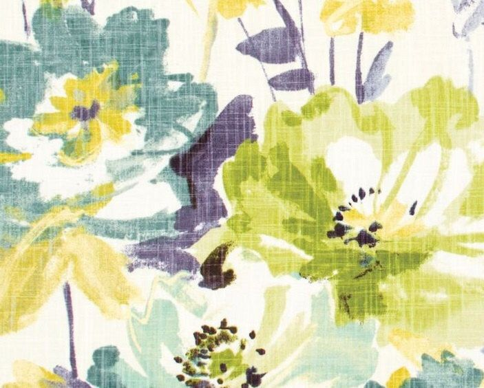 Yellow Floral Upholstery Fabric Contemporary Teal Floral Drapery