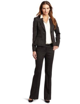 Anne Klein Women's Faux Leather Trim Melange Jacket And Pant