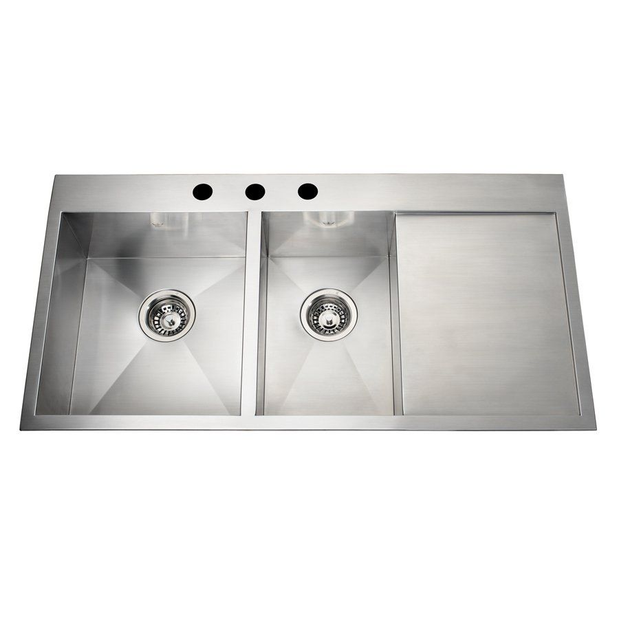 Captivating Shop Kindred QCLF2039DBR/8/1 Steel Queen Dualmount 39.38 In Offset Kitchen  Sink