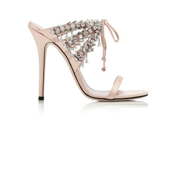 Giuseppe Zanotti Crystal-Embellished Satin Sandals ($1,295) ❤ liked on Polyvore featuring shoes, sandals, neutral, satin sandals, evening shoes, cocktail shoes, satin shoes and holiday shoes
