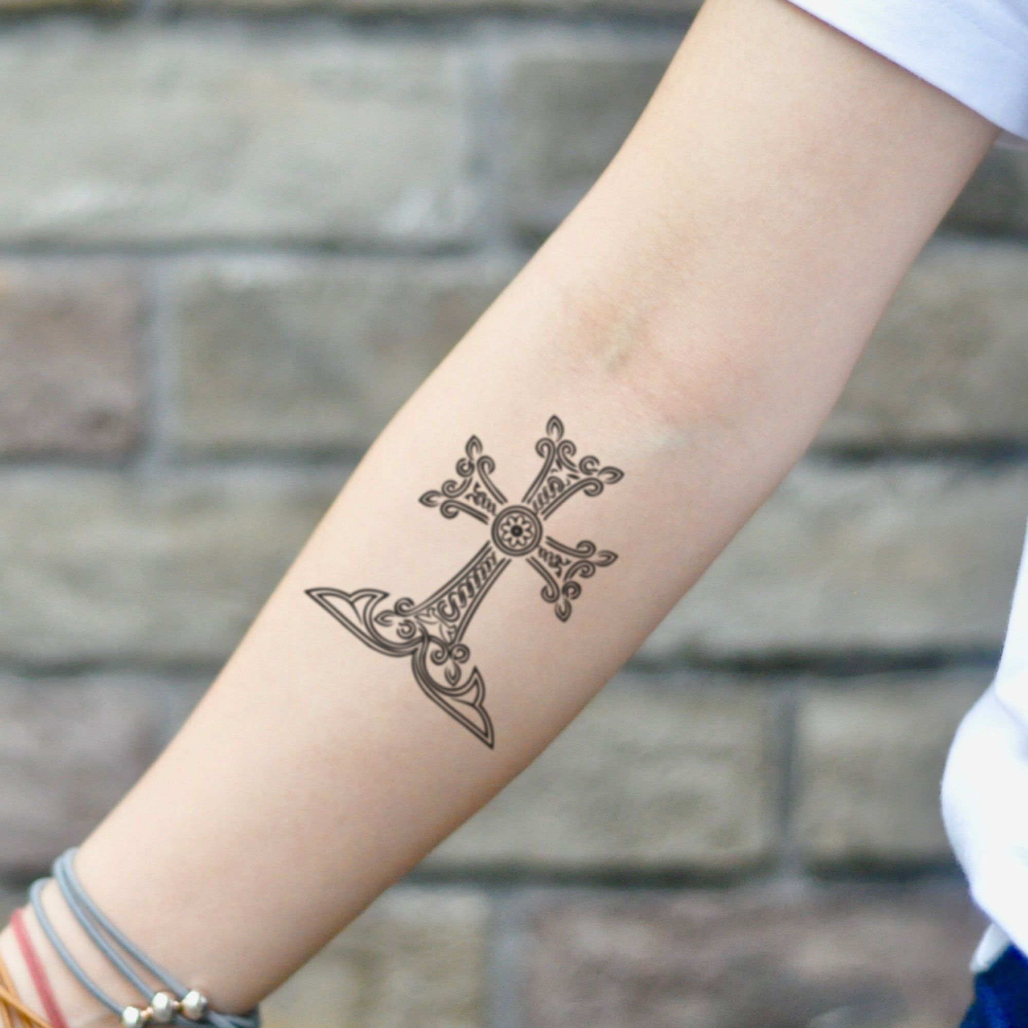 Armenian Cross Temporary Tattoo Sticker Set Of 2 In 2020 Custom Temporary Tattoos Tattoos Tattoo Stickers