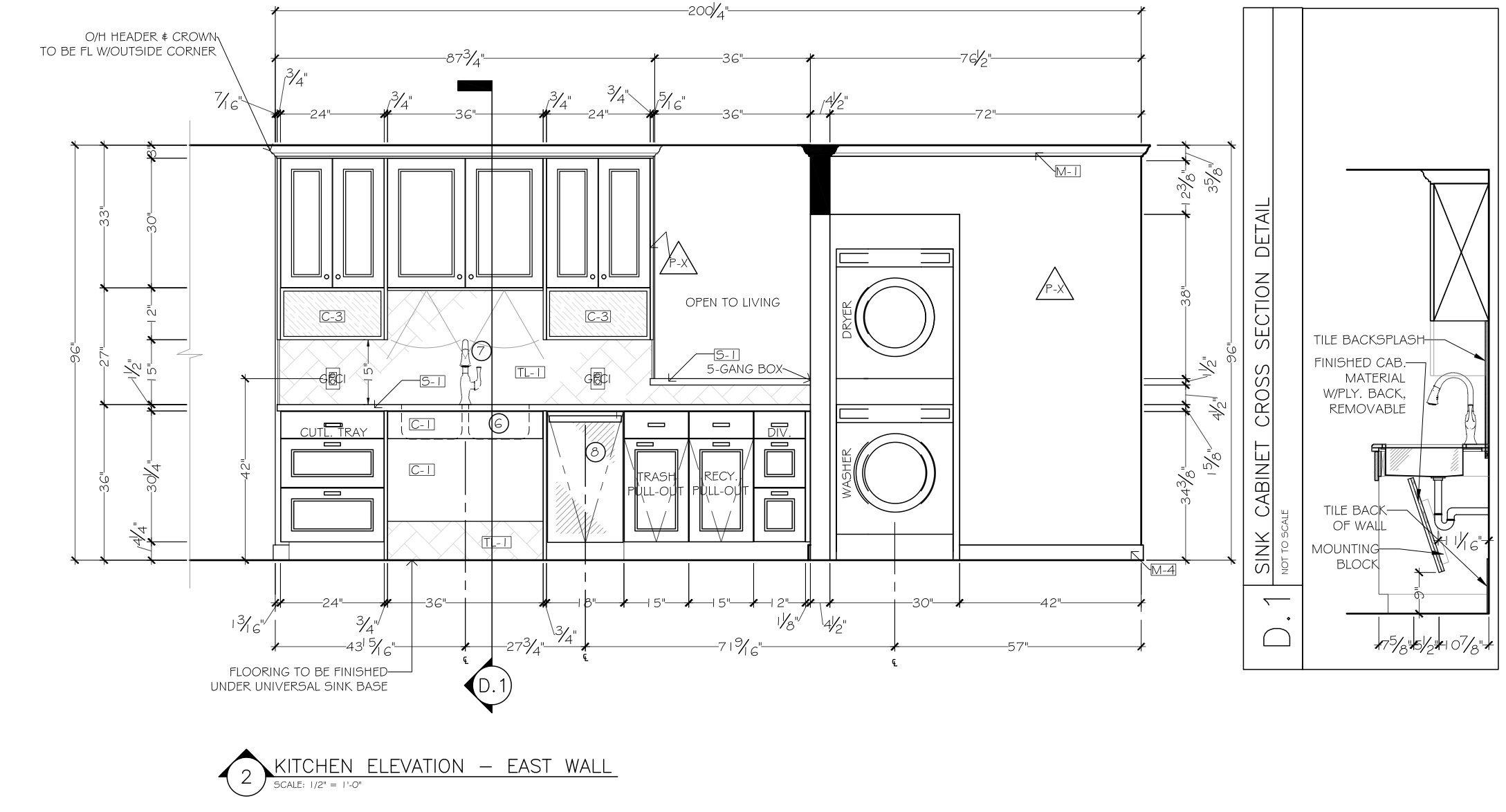 Corey Klassen Interior Design  Kitchen Elevation Example Annotating  Universal Design  (c) 2014