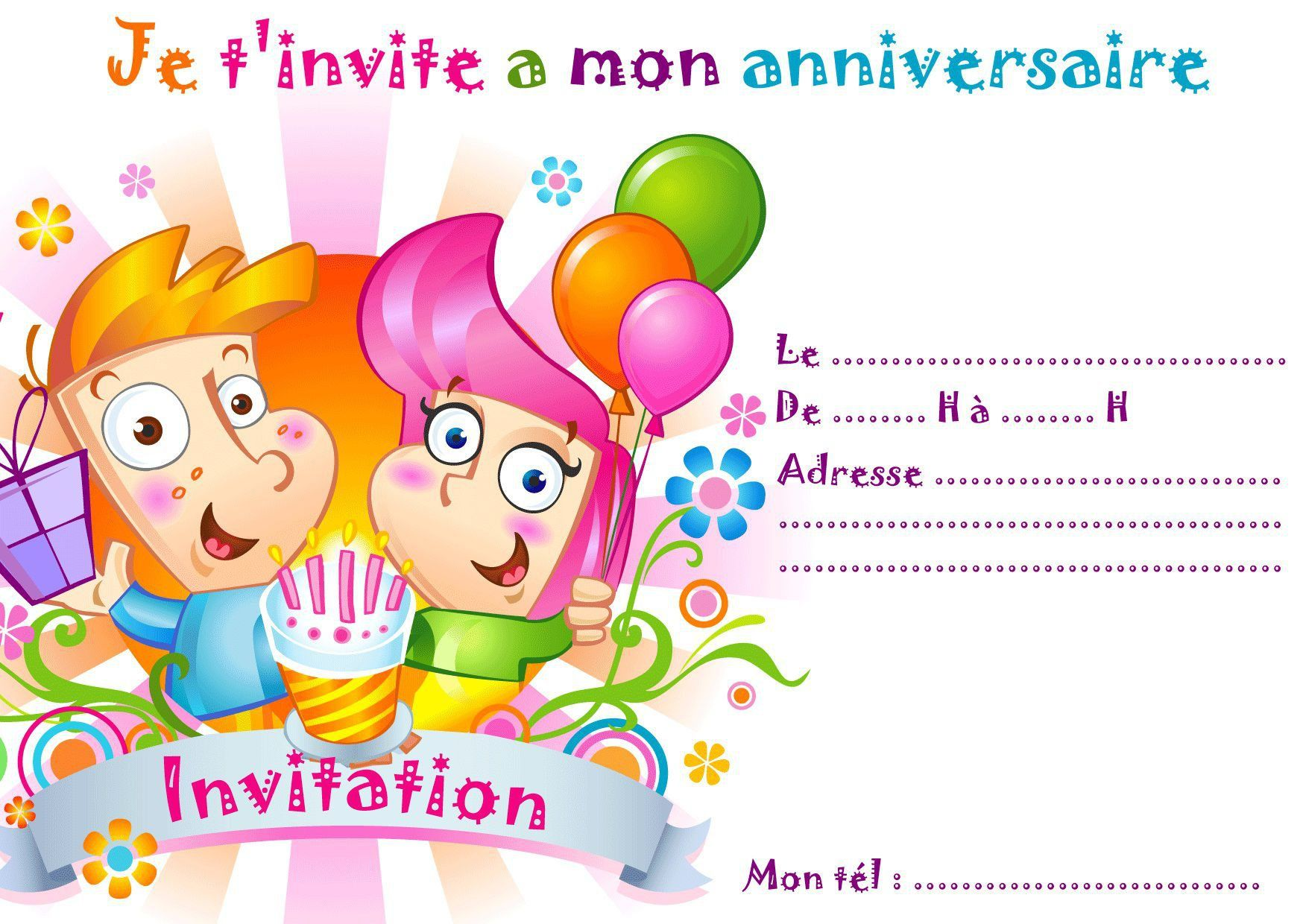 Sehr carte invitation anniversaire enfant : carte d invitation  WX07