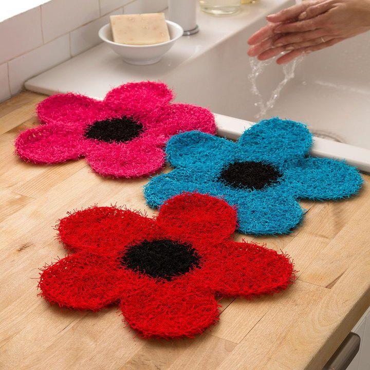 Crochet Flower Dish Scrubber | Cosas de casa, Adornos y Tejido