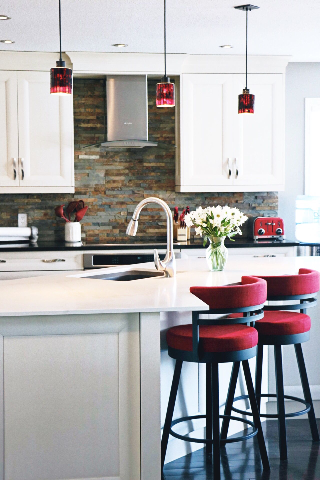 Mixing it up! Crisp white cabinets, rustic brick ...