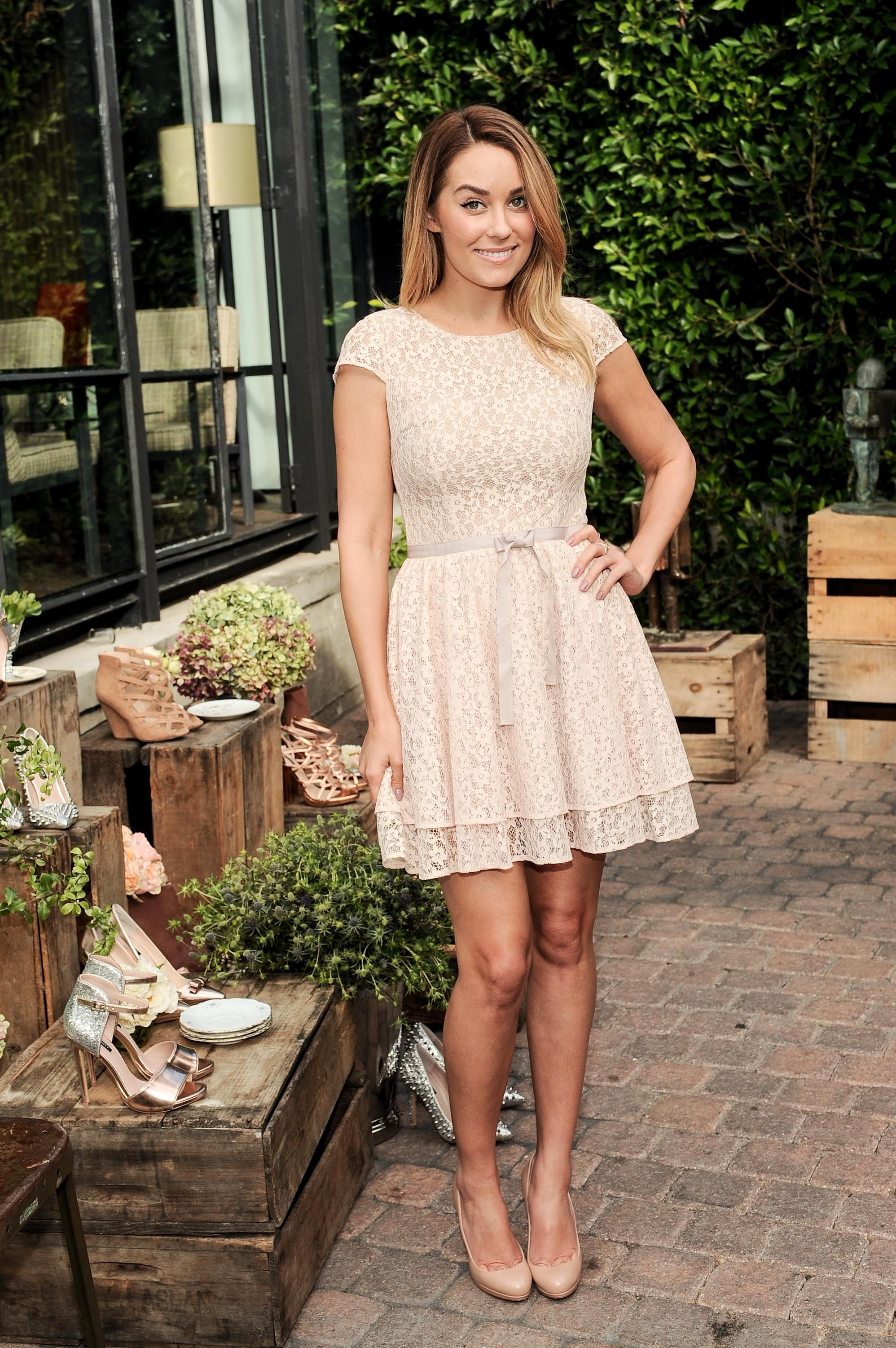 Lauren Conrad wearing beige lace dress | Fashion first | Pinterest