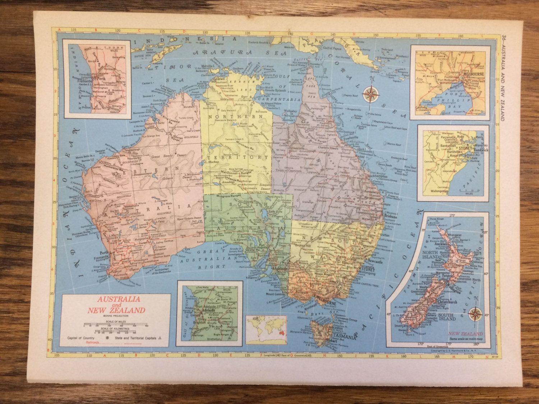 Colombia On World Map%0A      Australia  u     New Zealand Large Map  Hammond u    s New Supreme World Atlas   Vintage by